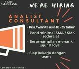 Dibutuhkan analist consultant fresh graduate atau yg sdh berpengalaman - Palembang Kota - Lowongan